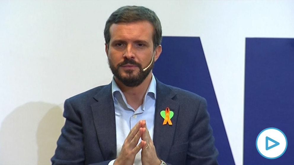 El presidente del PP, Pablo Casado, en un acto en Valencia contra la Ley Celaá