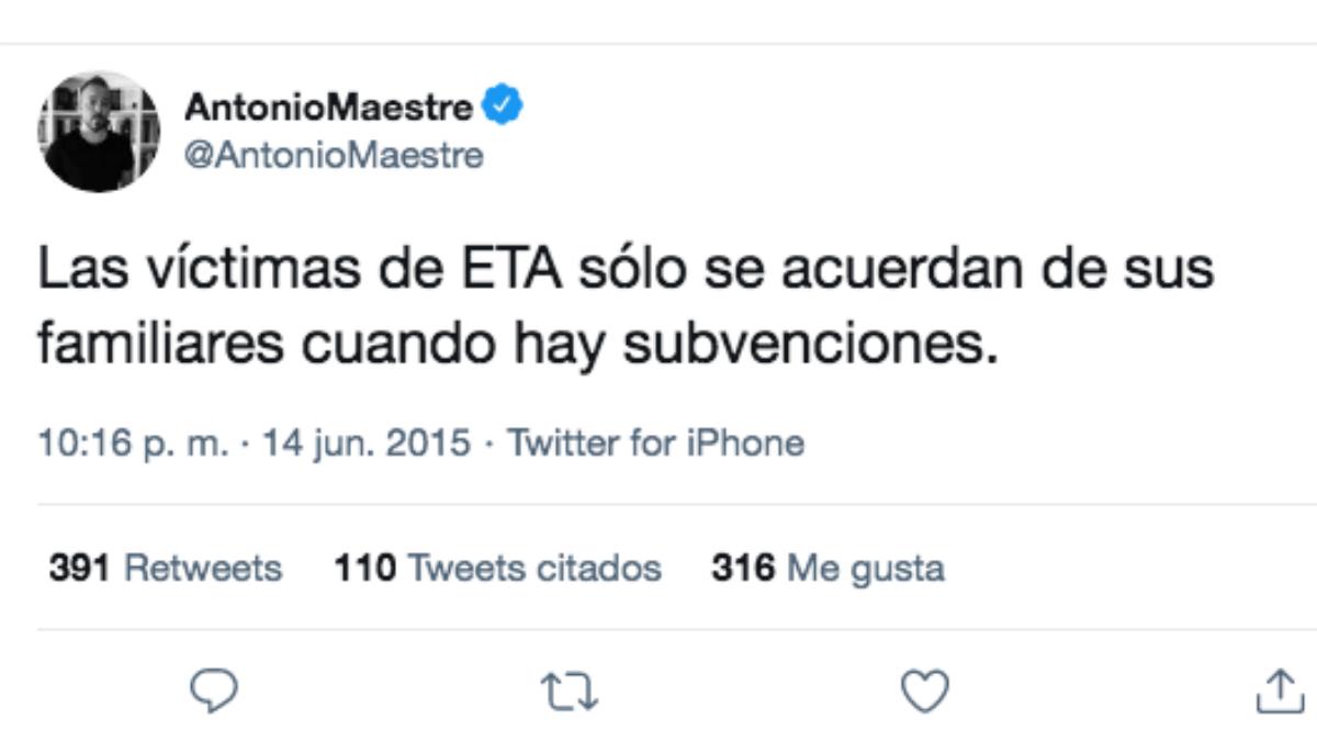El tuit publicado por Antonio Maestre el 14 de junio de 2015.