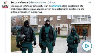 El partido de Otegi pone en la diana a la Guardia Civil en una de sus cuentas oficiales en Twitter.