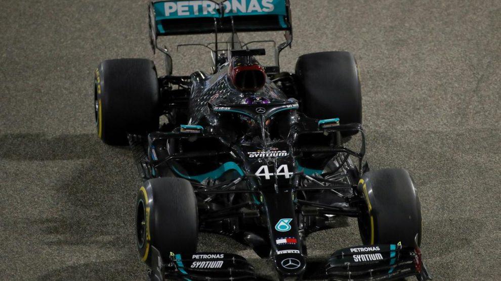 Lewis Hamilton en el Gran Premio de Baréin. (AFP)
