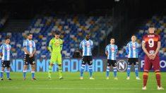 Así fue el homenaje del Nápoles a Maradona: se paró el partido en el minuto 10. (@sscnapoli)