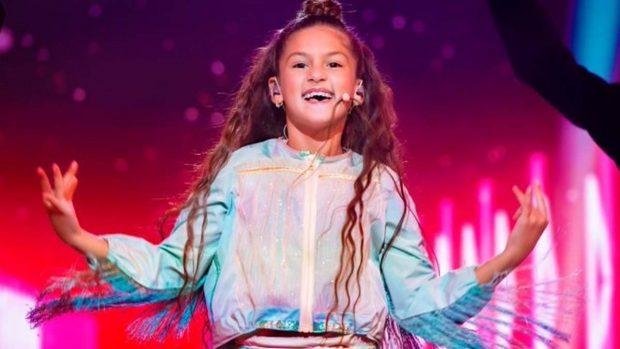 La joven sevillana Soleá durante la actuación en Eurovisión Junior 2020 que le ha valido la tercera posición en el certamen.