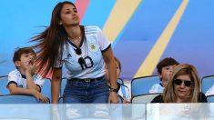 Antonella Roccuzzo, en un partido de Messi con Argentina. (Getty)