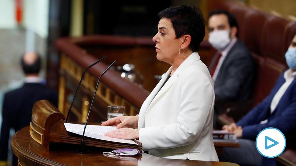 La portavoz de EH Bildu, Mertxe Aizpurua, este lunes en el debate de Presupuestos en el Congreso.