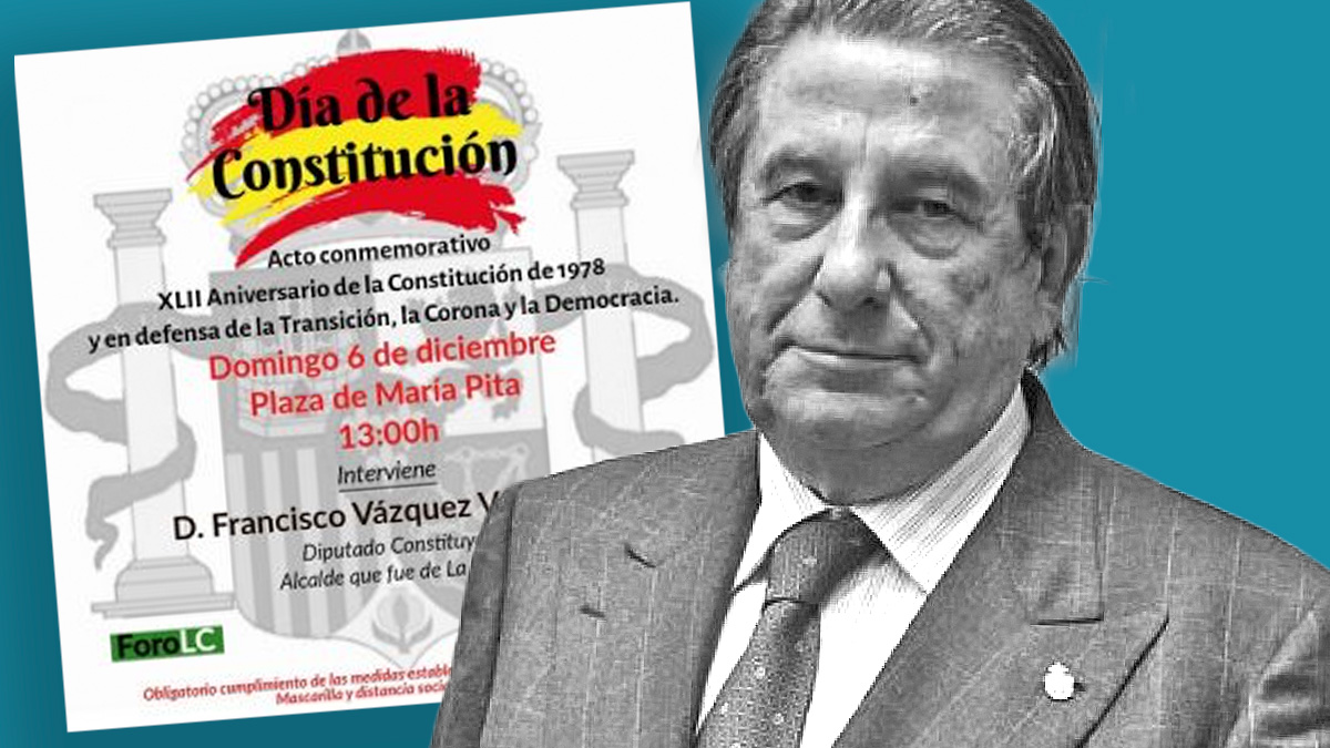 Francisco Vázquez y el cartel del acto de Concordia Real Española