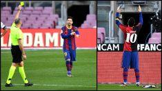 Messi ve amarilla por homenajear a Maradona con la camiseta de Newell's. (Getty)
