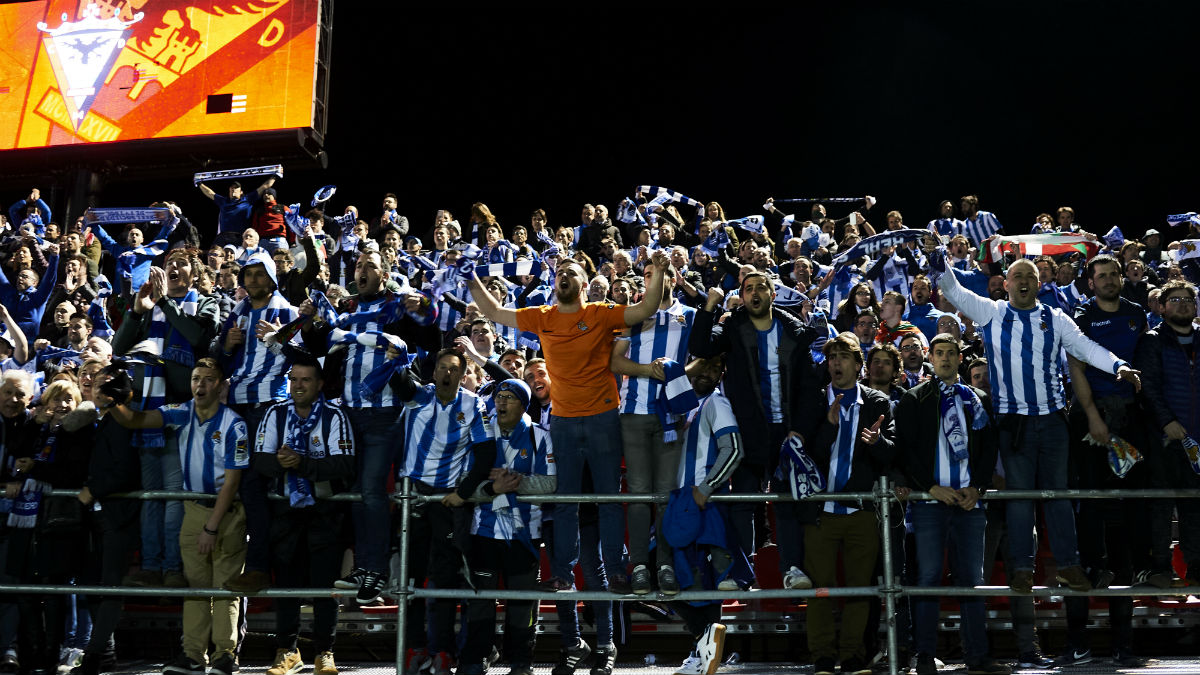 Aficionados de la Real Sociedad, en un partido. (Getty)