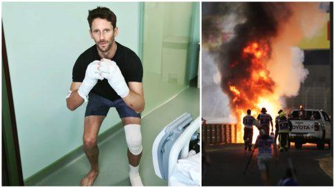 Grosjean publicó una foto en Instagram en la que bromea tras su terrible accidente.