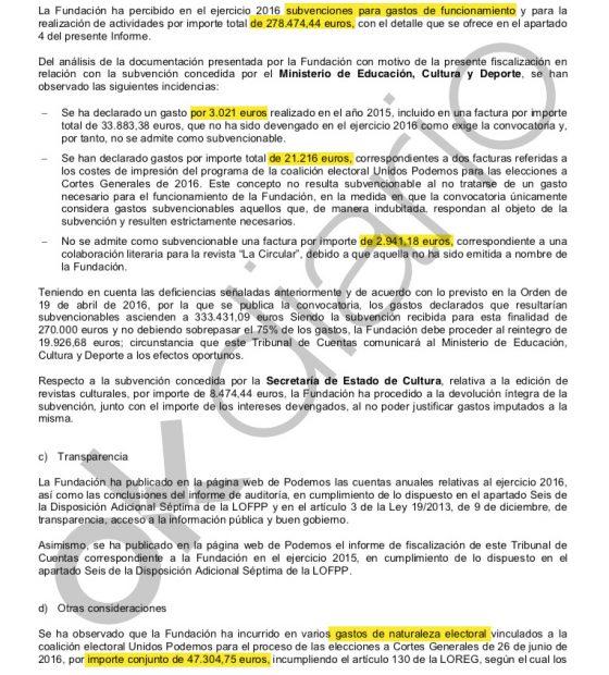 Las tres irregularidades contables de la Fundación de Podemos.