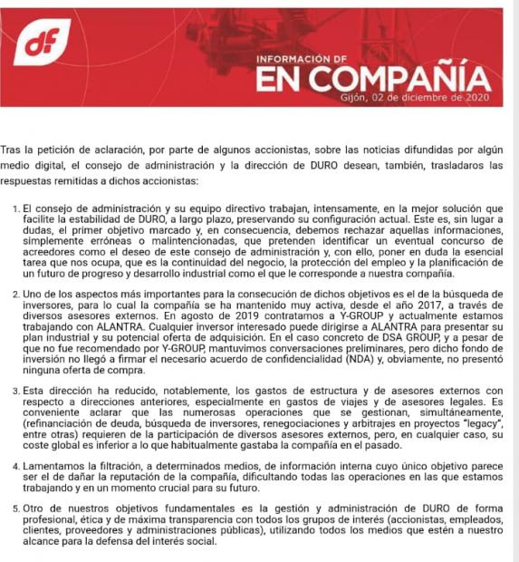 El Consejo de Duro Felguera tarda 40 días en escuchar la oferta de Herrero: 8 millones en 'cash' y ayuda de la SEPI