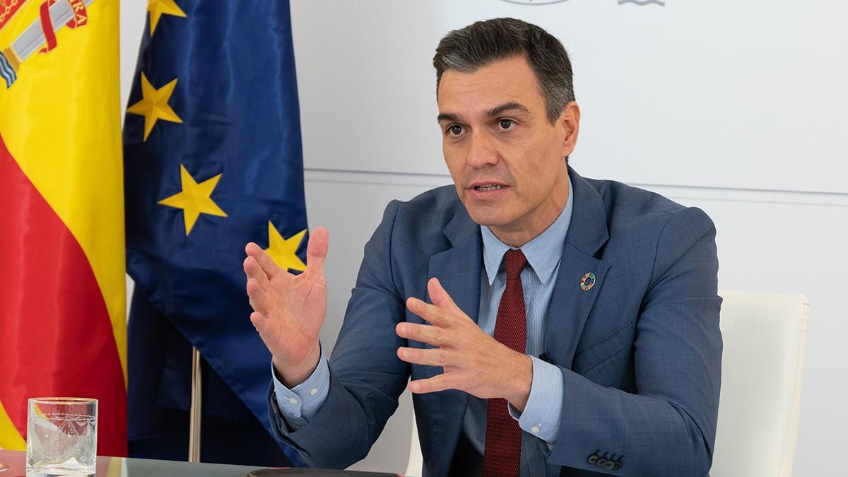 El presidente del Gobierno, Pedro Sánchez, participa por videoconferencia en el Foro de Política Exterior de la Fundación Körber, en Madrid (España), no coincide con las previsiones del Banco de España