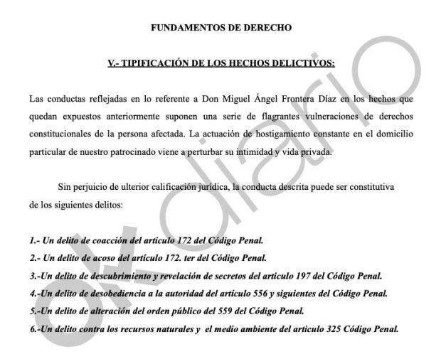 Delitos que los abogados de Pablo Iglesias atribuyen a Miguel Frontera.
