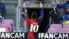 Leo Messi celebra su gol ante Osasuna. (Getty)