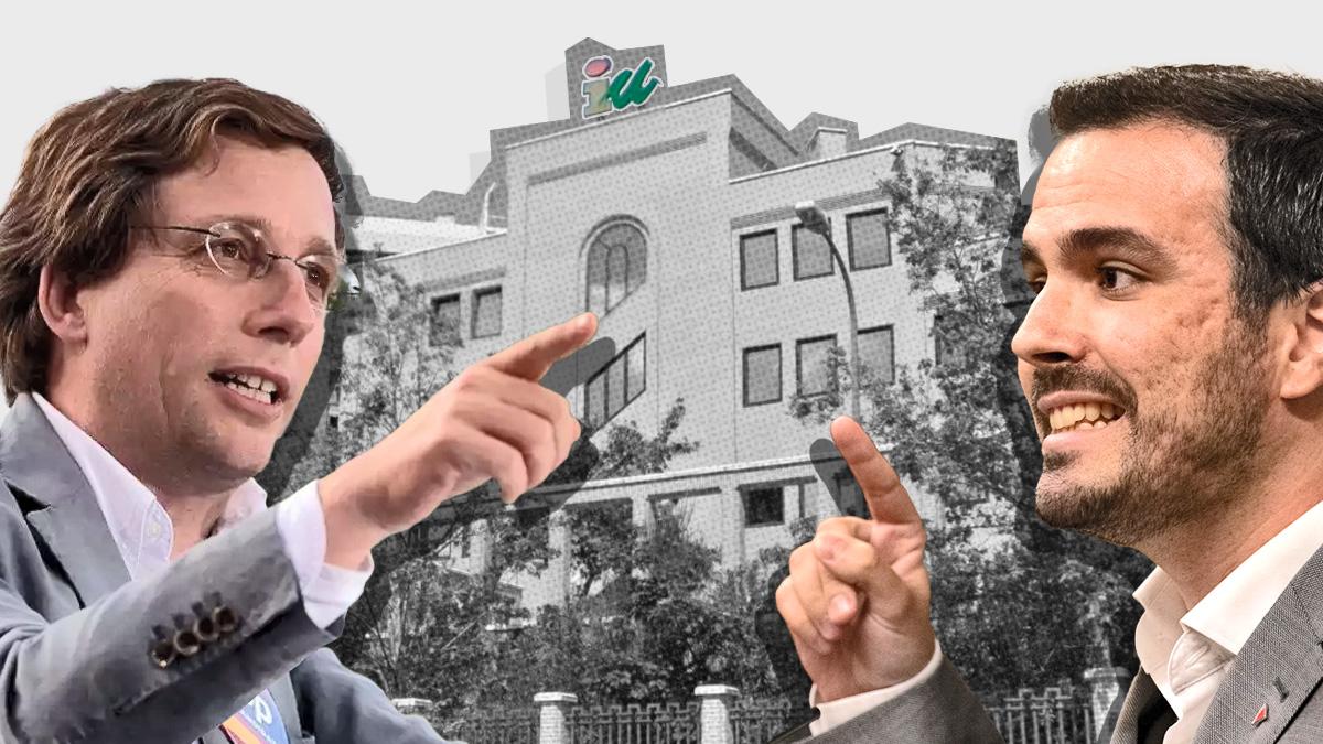 José Luis Martínez-Almeida y Alberto Garzón junto a la sede federal de IU.