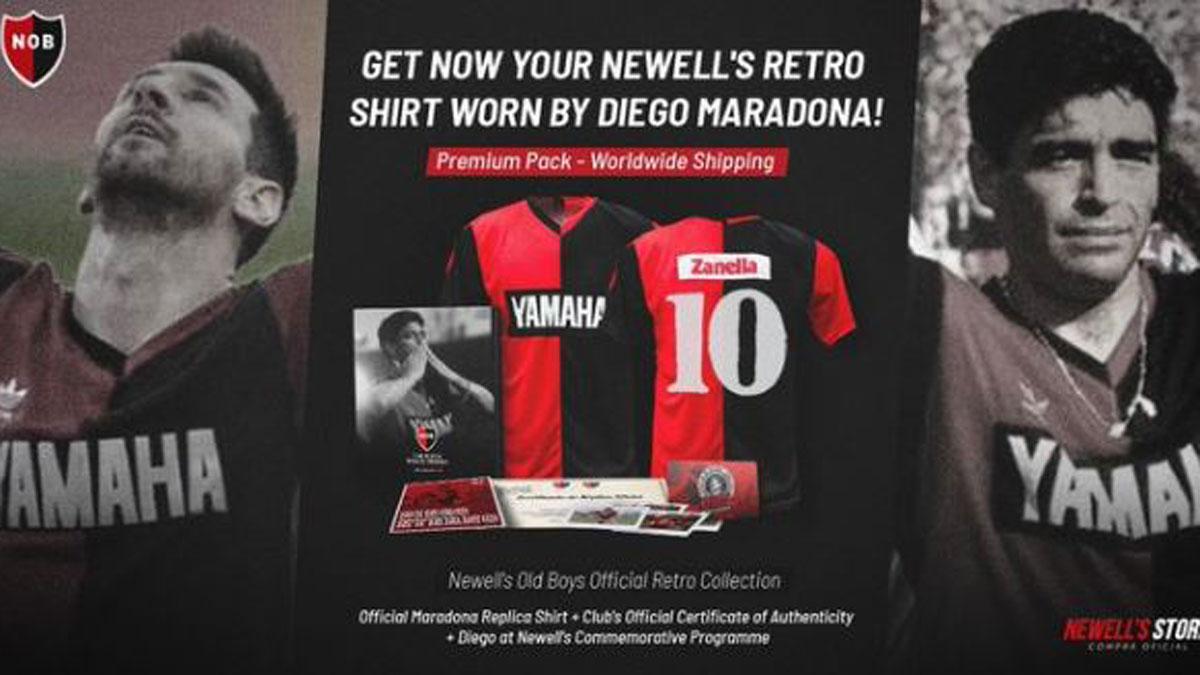 Anuncio de Newell's de la venta de la camiseta que lució Maradona y Messi en su homenaje (Newell's)