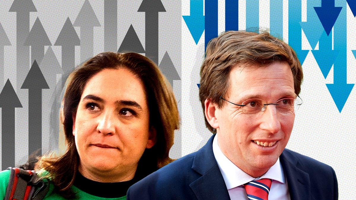 Ada Colau y José Luis Martínez Almeida, alcaldes de Barcelona y Madrid, respectivamente.
