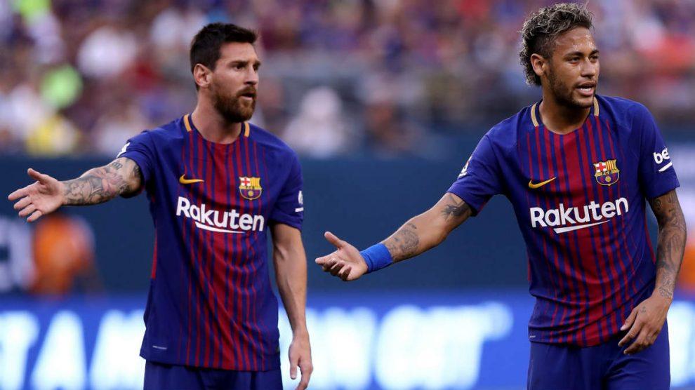 Neymar y Messi, en un partido con el Barcelona. (AFP)