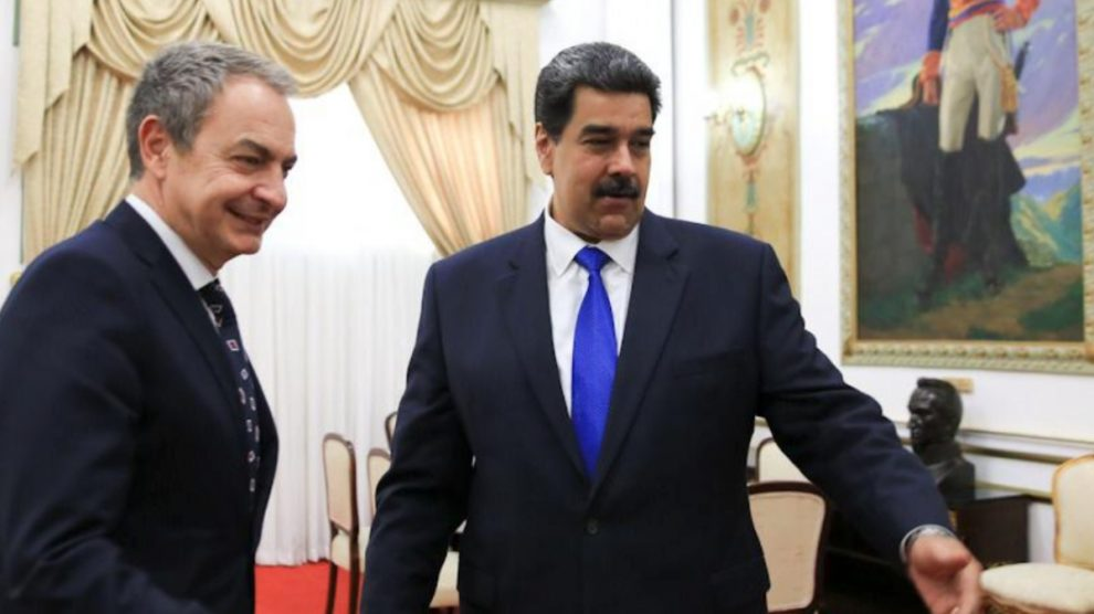José Luis Rodríguez Zapatero con Nicolás Maduro en Venezuela.
