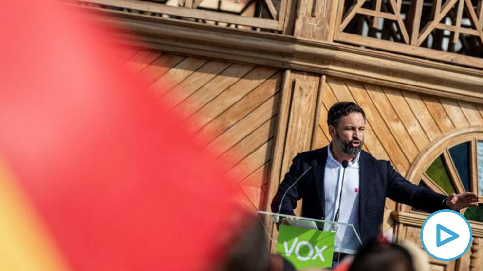 El presidente de Vox, Santiago Abascal, este sábado en Lanzarote. (Foto: Efe)