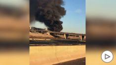 Espectacular incendio en las cocheras de los autobuses municipales en Valencia