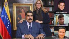 El dictador Nicolás Maduro, su esposa Cilia Flores y los tres hijos de ésta: Yosser, Yoswal y Walter.