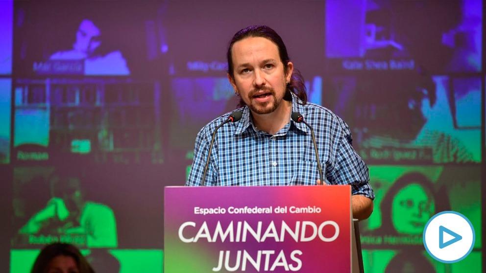 Pablo Iglesias durante su intervención este sábado en el Consejo confederal de Unidas Podemos. (Imagen: Podemos)