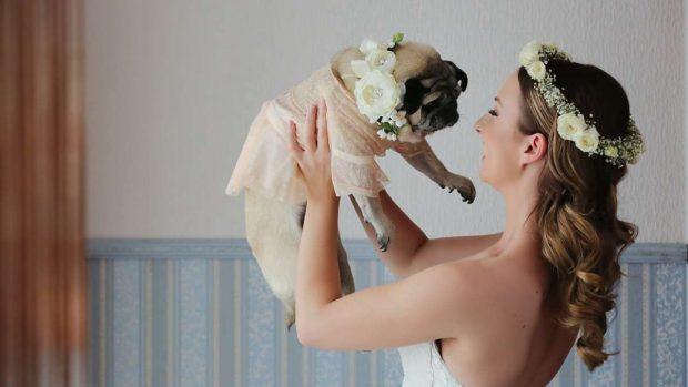 Novia con perro