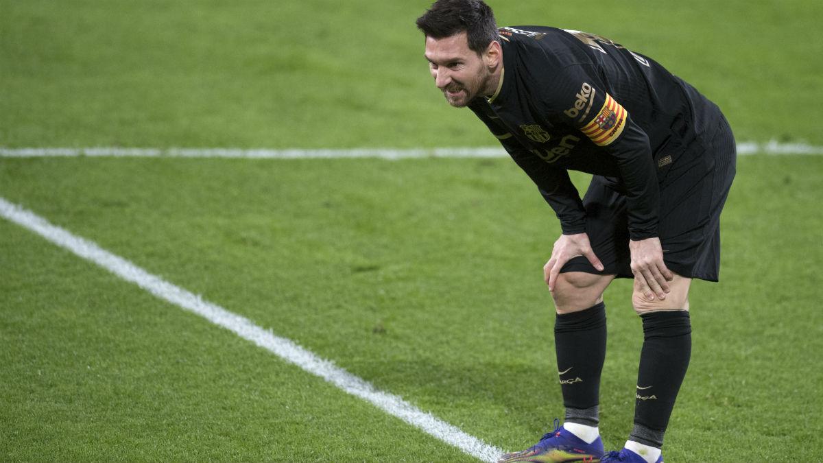 Messi, en el partido contra el Cádiz. (AFP)
