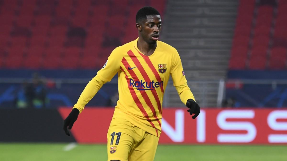 Dembélé durante un partido con el Barcelona esta temporada. (AFP)