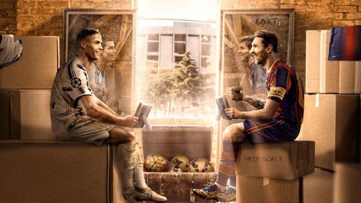 Imagen compartida por el Barcelona por el reencuentro entre Cristiano y Messi (Twitter del Barcelona)