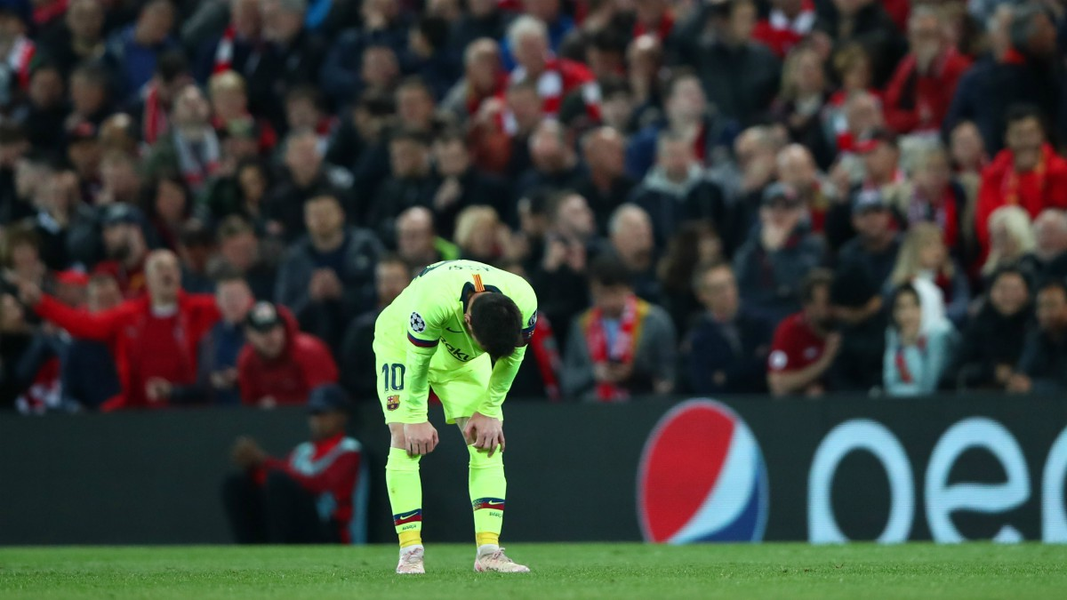 Messi, en el día del hundimiento en Anfield. (Getty)