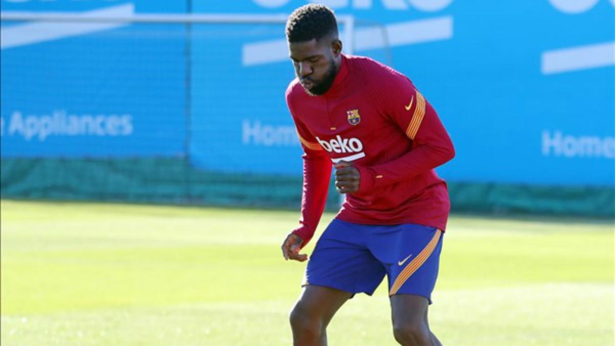 Samuel Umtiti durante un entrenamiento con el Barcelona. (Foto: fcbarcelona.cat)