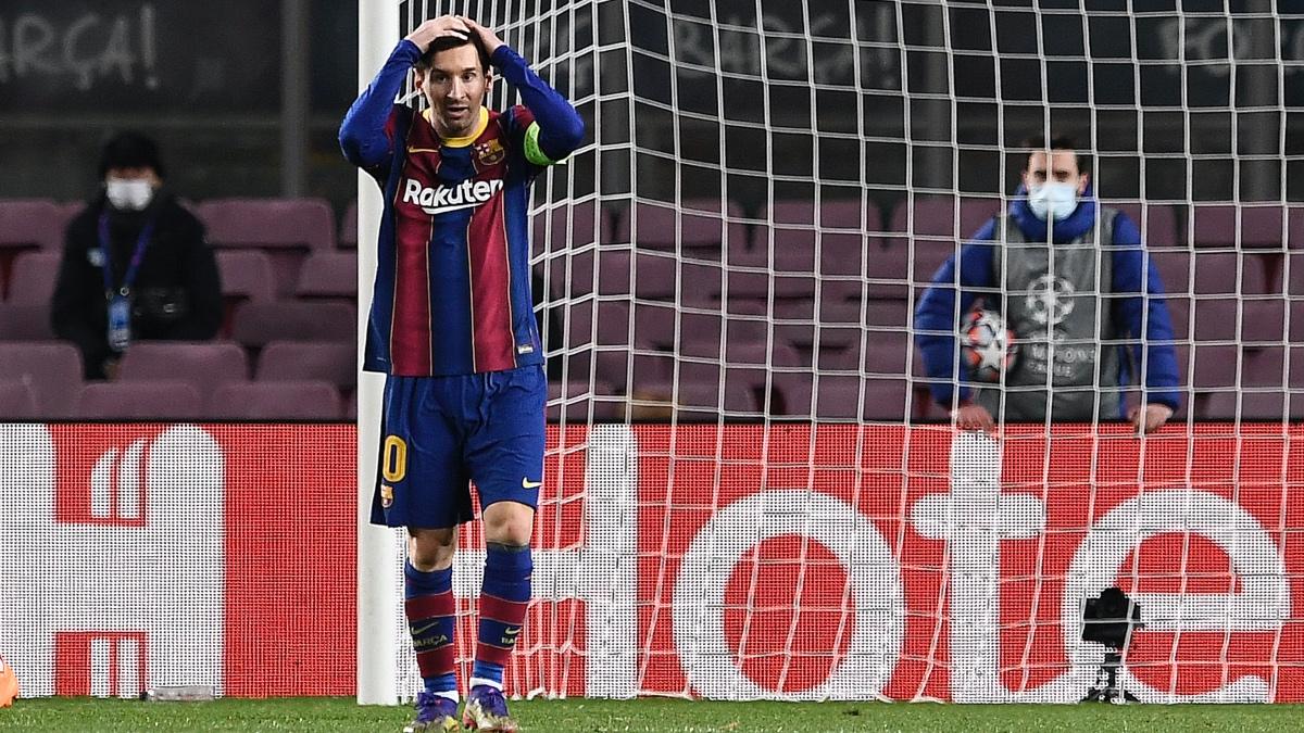 Leo Messi, tras fallar una acción ante la Juventus en Champions. (AFP)