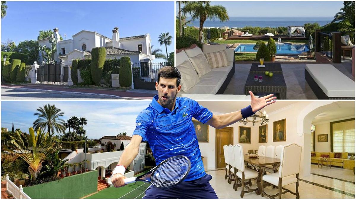 Djokovic con la mansión de Marbella de fondo.