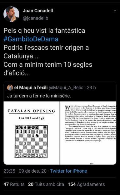 El separatismo se sube al carro de 'Gambito de dama': ahora dice que el ajedrez nació en Cataluña