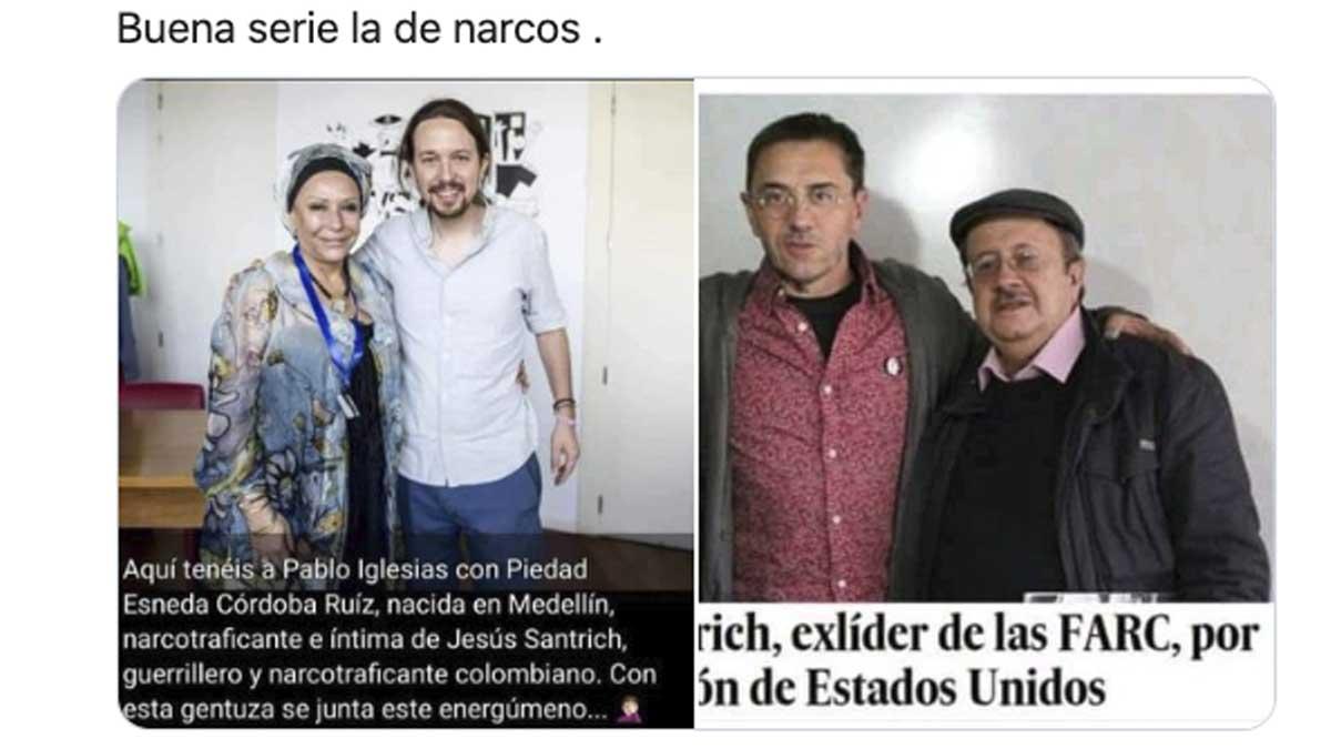 Pablo Iglesias y Monedero con líderes de las FARC.
