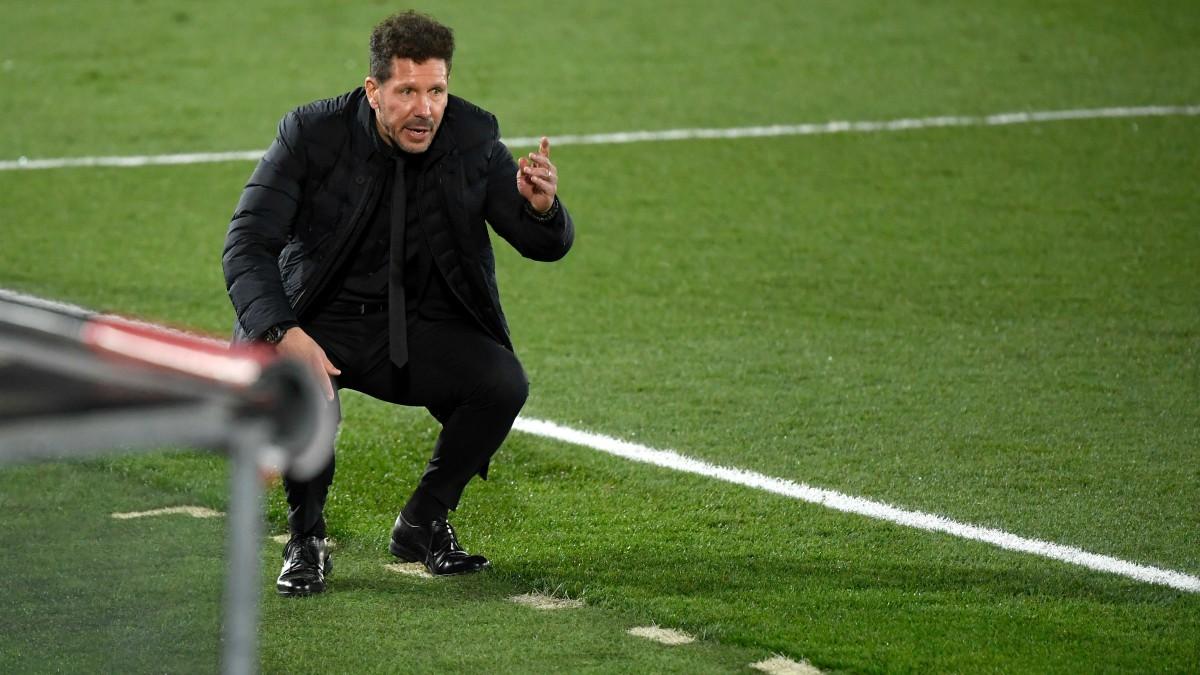 Simeone, en el partido ante el Real Madrid. (AFP)