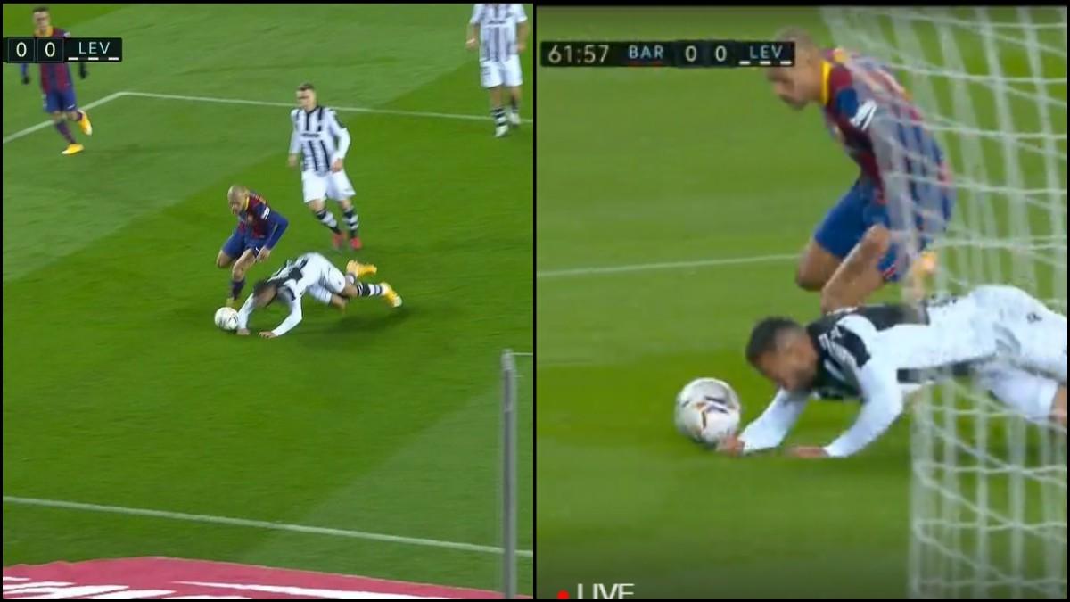 Los jugadores del Barcelona pidieron penalti por mano de Vezo. (Captura de pantalla)