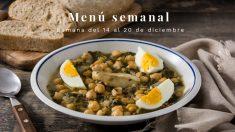 Menú semanal saludable: Semana del 14 al 20 de diciembre de 2020