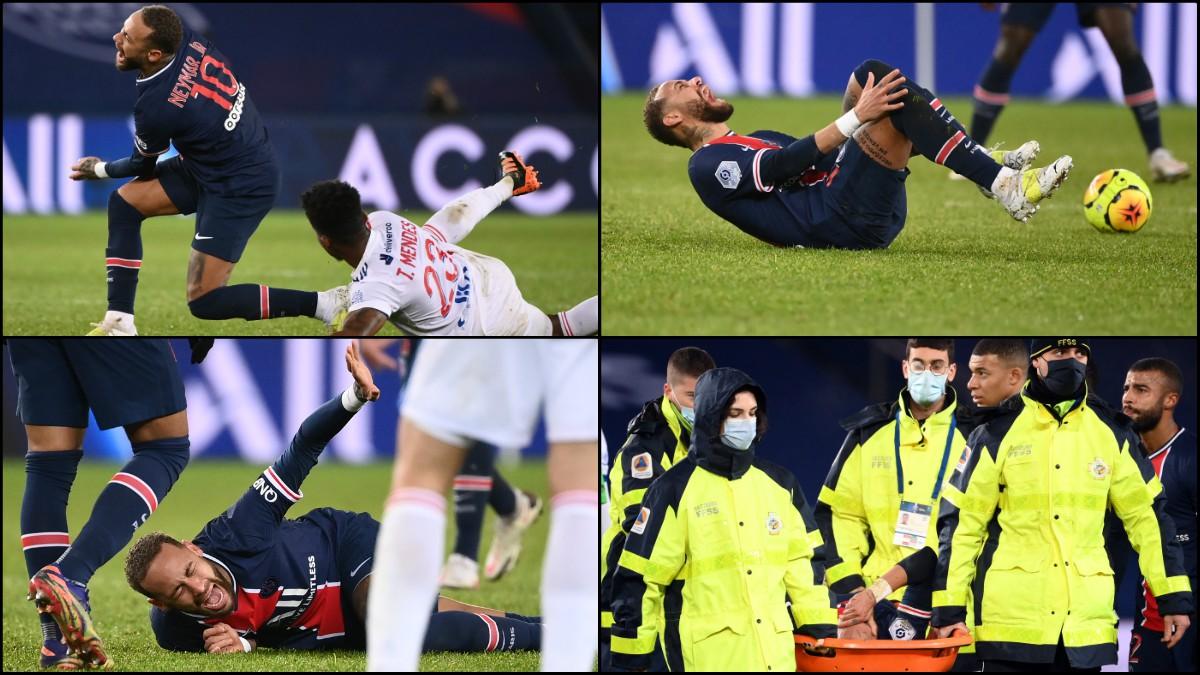 Neymar se marchó lesionado ante el Lyon. (Fotos: AFP)