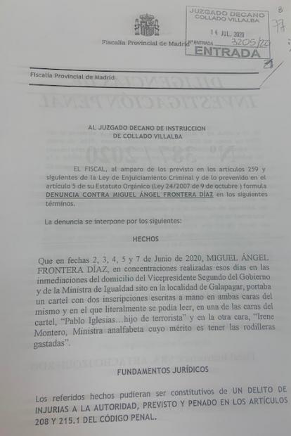 Denuncia de la Fiscalía presentada al Juzgado