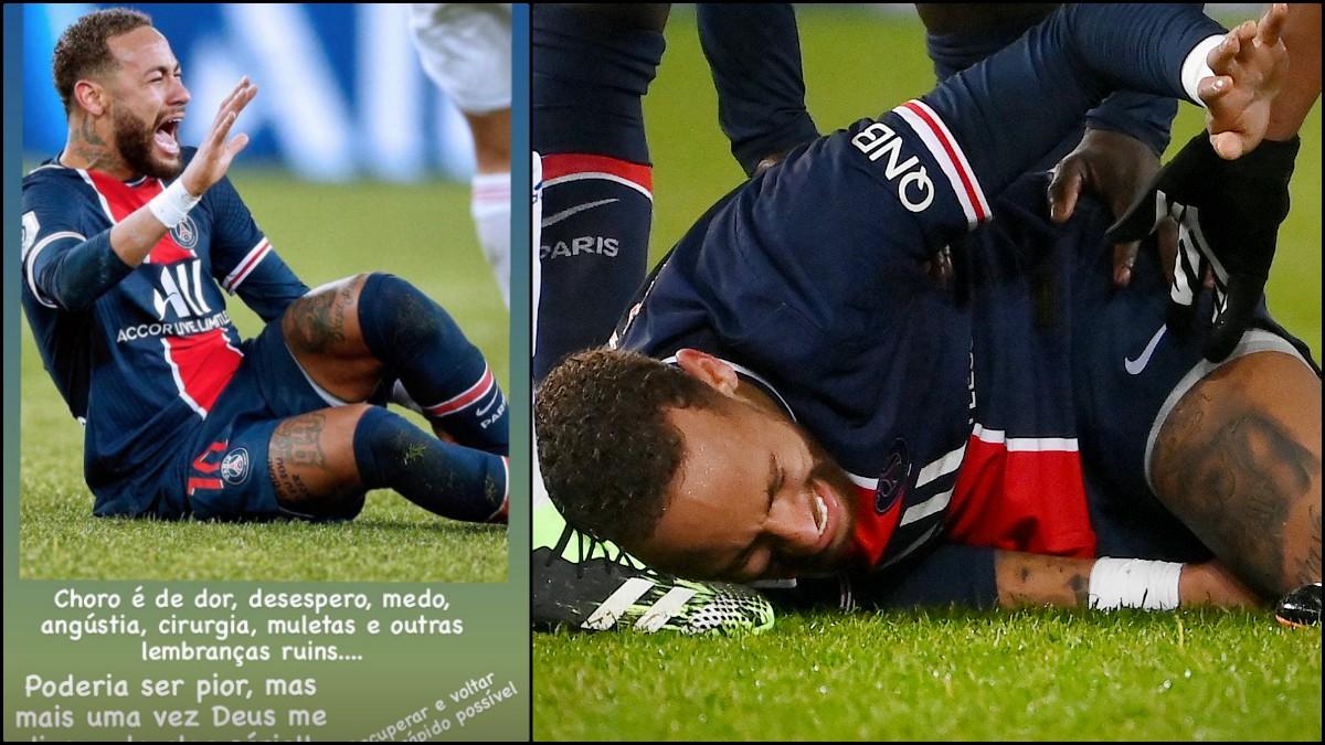 Neymar llora de dolor tras la entrada de Thiago Mendes.