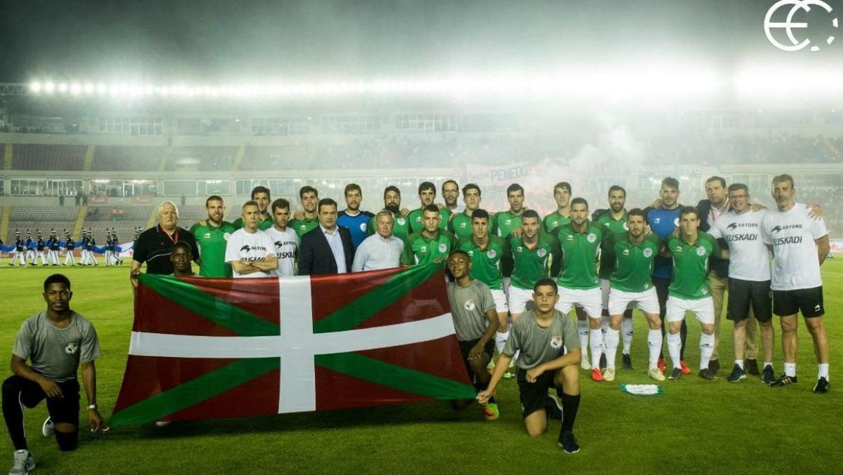 La selección de Euskadi, antes de un partido. (@EFF_FVF)