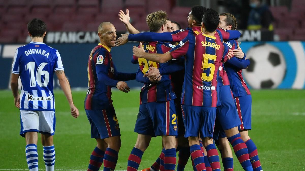 El Barcelona celebra un gol ante la Real Sociedad. (EFE)