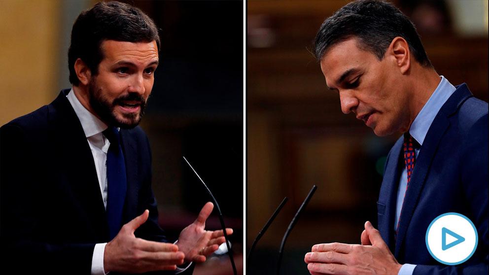 Pablo Casado y Pedro Sánchez en el Congreso