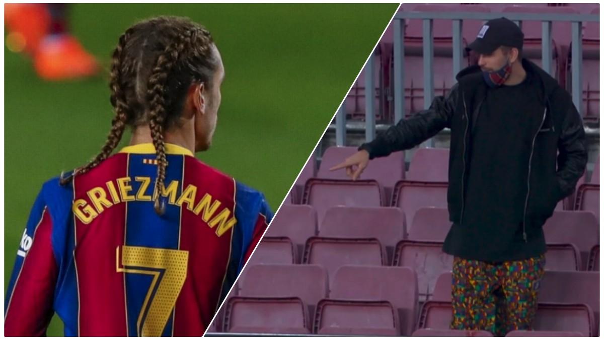 Piqué se presentó en el Camp Nou con unos pantalones peculiares y Griezmann con trenzas.