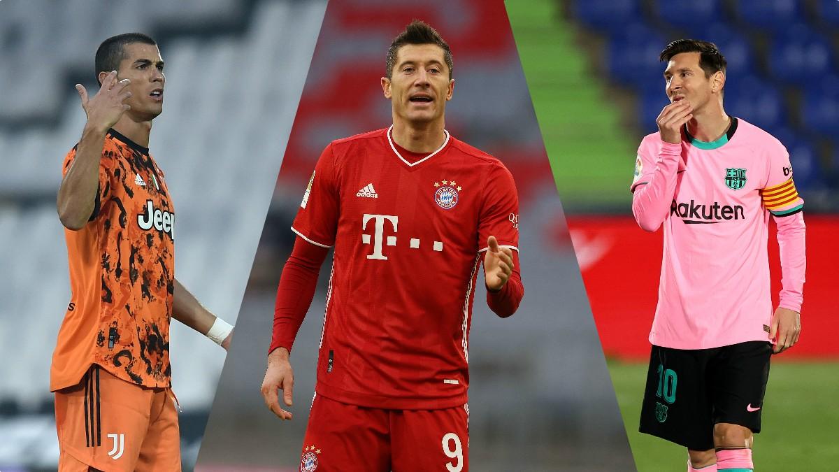 Cristiano, Lewandowski y Messi, candidatos al The Best. (Getty)