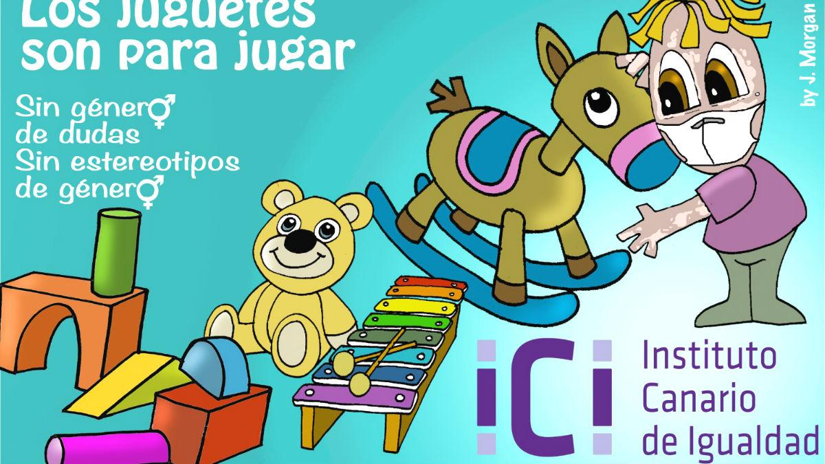 El cartel del Gobierno de Canarias para la campaña «los juguetes son para jugar». (Foto: Instituto Canario de Igualdad)