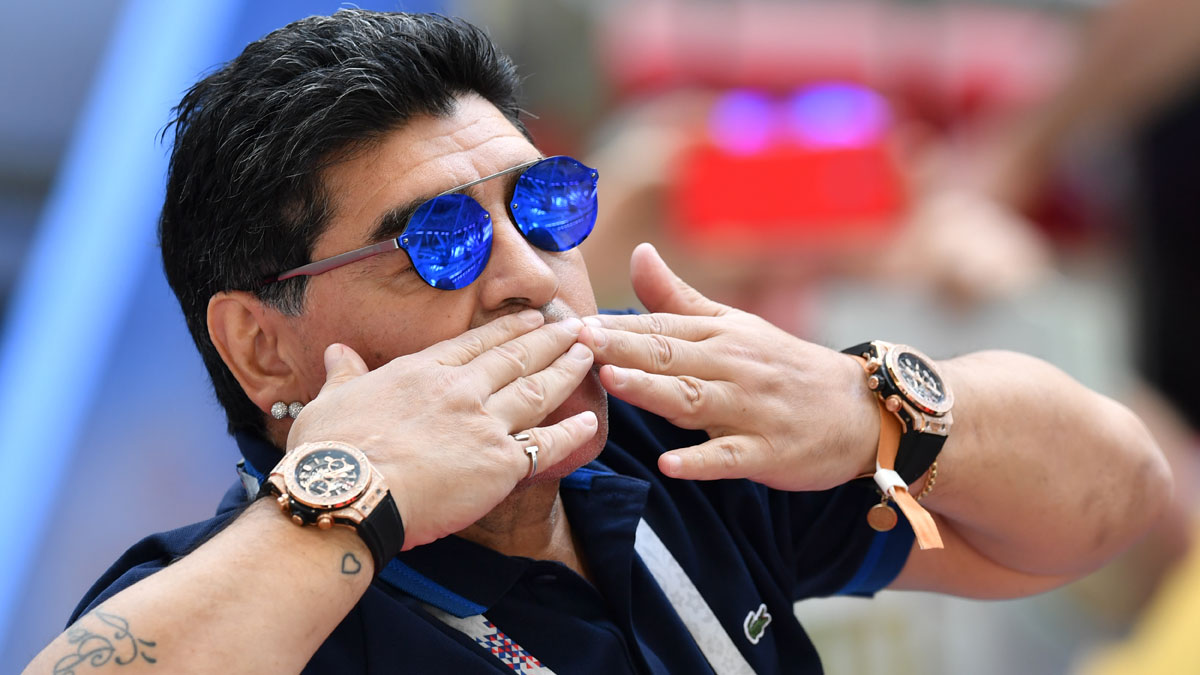 Maradona, durante el Mundial 2018 (AFP)