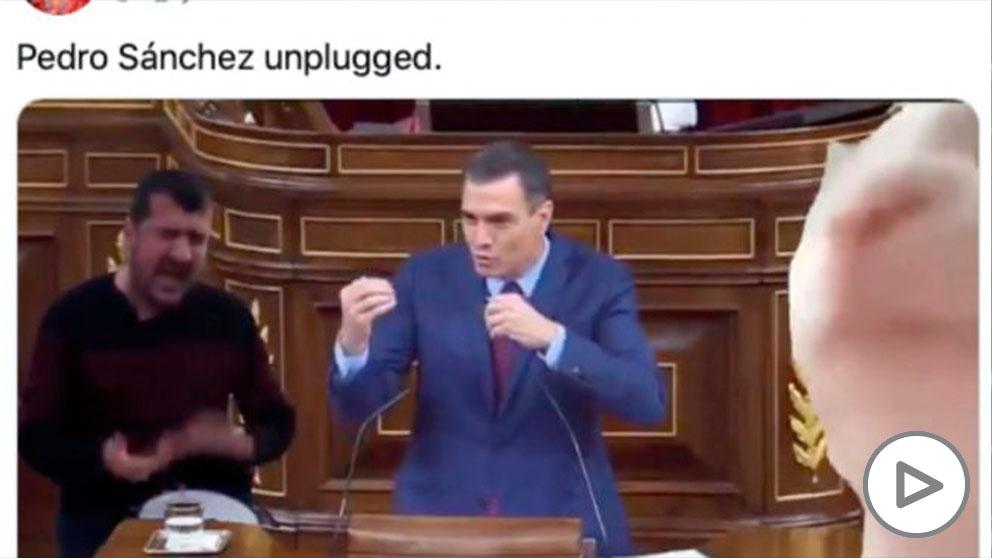 'Pedro Sánchez unplugged': el divertido videomontaje de un tuitero sobre la intervención del presidente